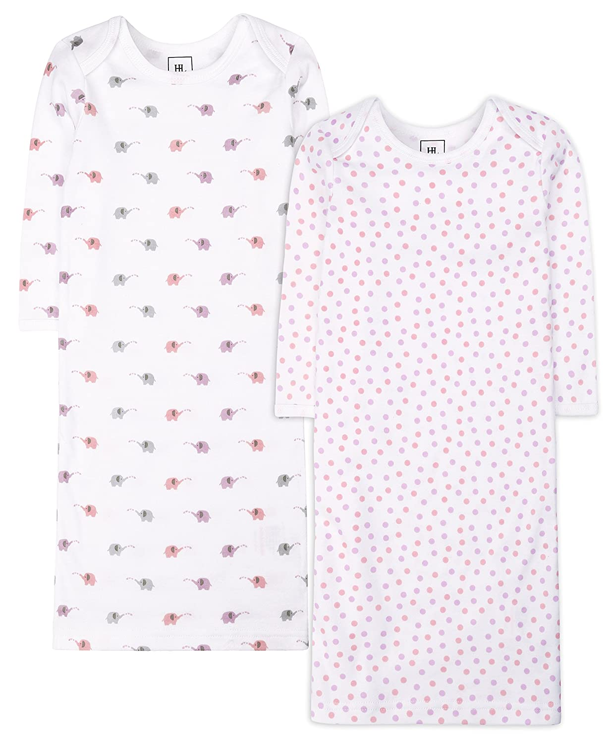 Baby boy and Girl 2 Pack Gowns Cotton Printed Sleepwear Animals Pattern Long Sleeve Clothes 3-6 Months