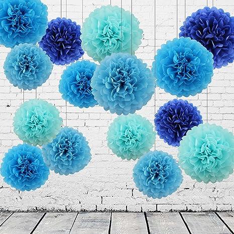 15 Piezas Pompones de Papel de Seda Bola de Flor Papel Azul y Azul Oscuro Pom Poms Bola Decoraciones de Fiesta Boda Bebé Ducha Aniversario San ...