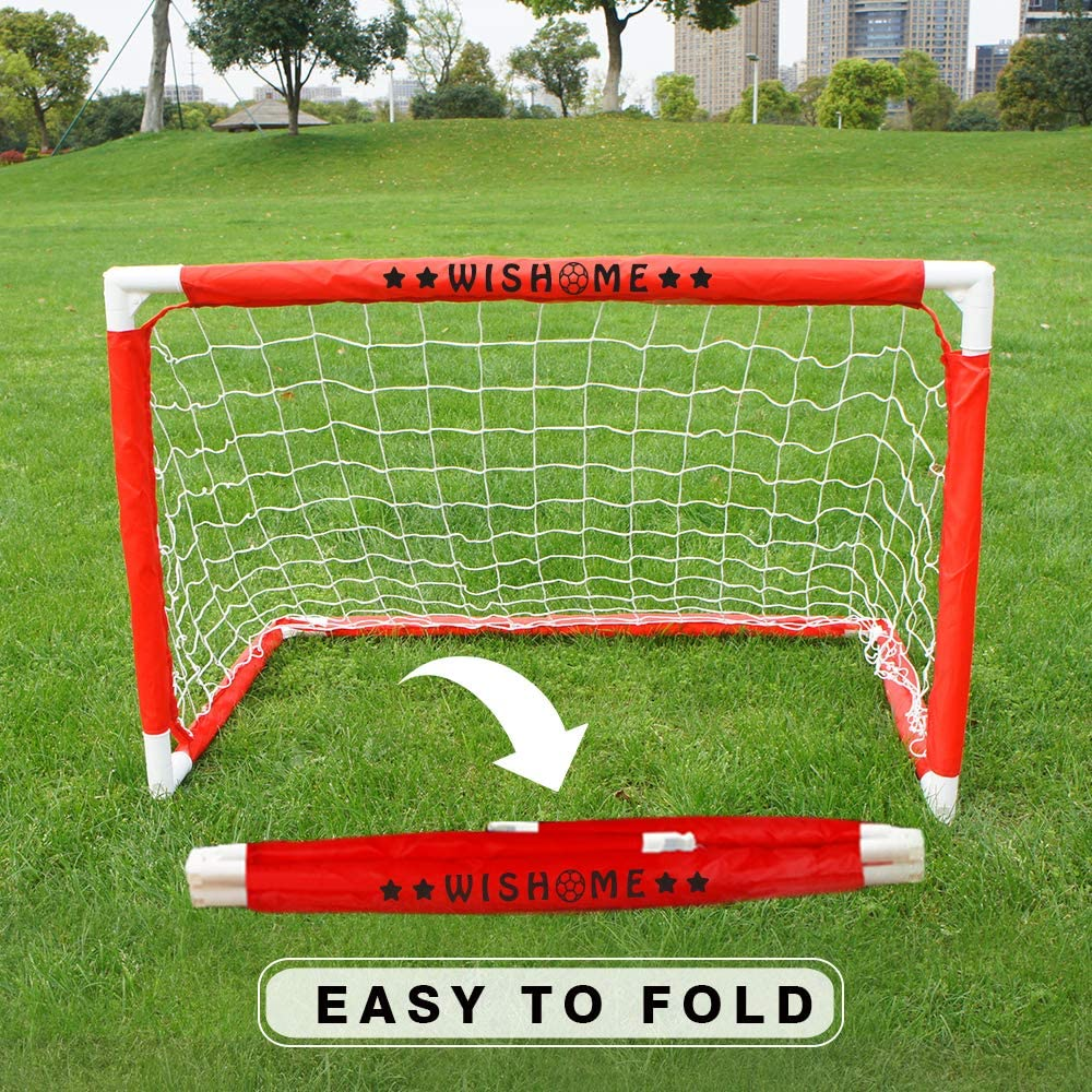 WISHOME 3FT Kids Soccer Goal/Hockey Goal Set for Backyard -Portable Mini Goal Folding Youth Soccer Goal Toddler Soccer Goal Net with Ball