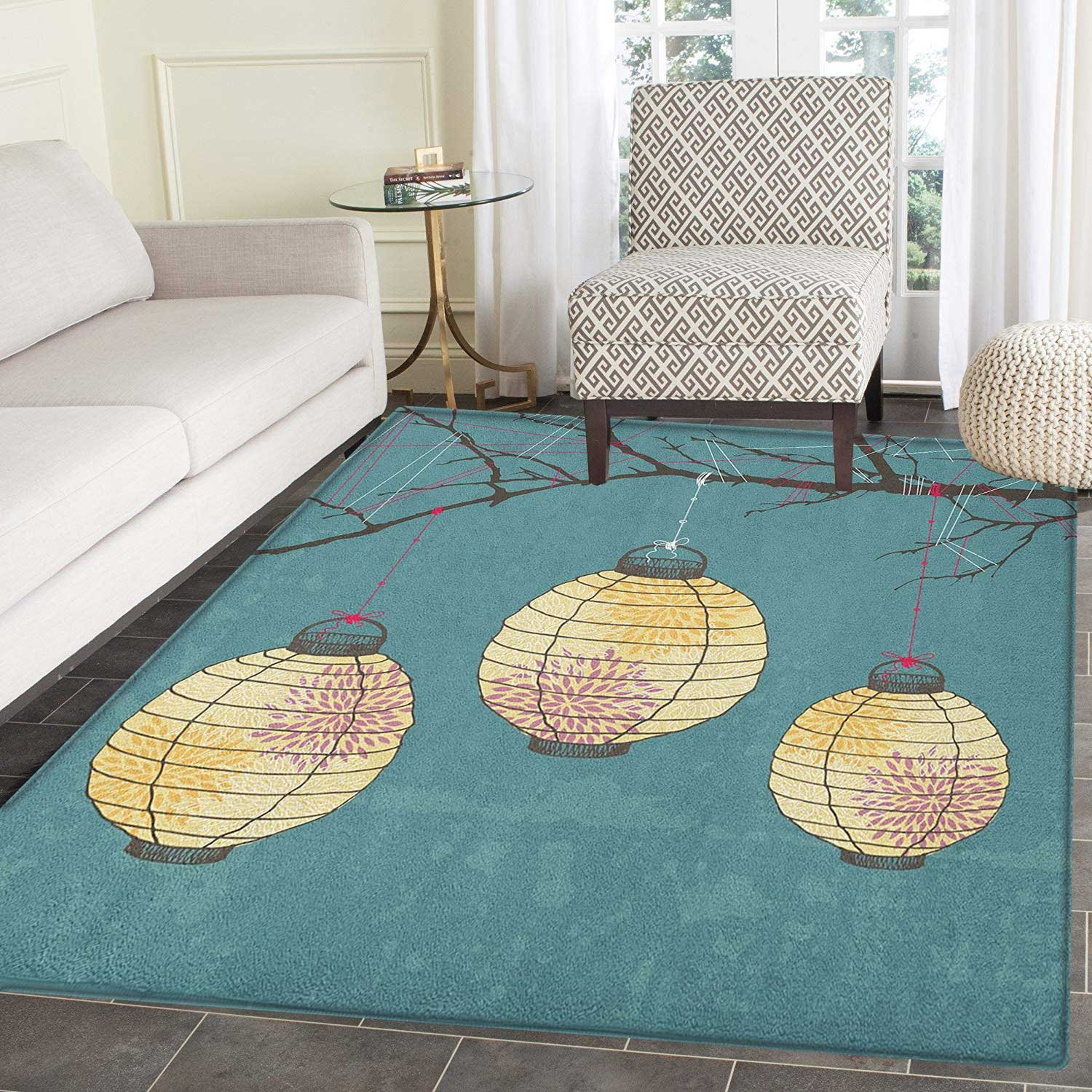 Lantern Area Rug Carpet Three Paper Lanterns Hanging on Branches Lighting Fixture Source Lamp Boho Living Dining Room Bedroom Hallway Office Carpet 4'x5' Teal Pale Yellow by smallbeefly