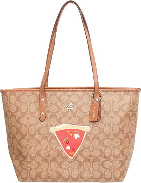 79591dfc55 COACH NYC PIZZA CITY ZIP TOTE IN SIGNATURE (F57614) SILVER KHAKI SADDLE