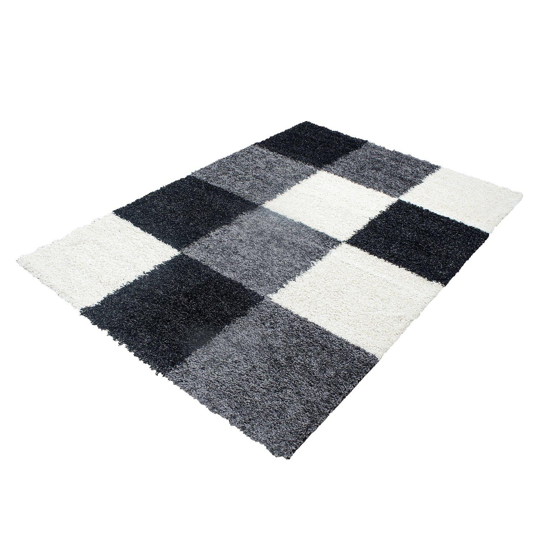 Hochflor Shaggy Teppich Rechteckig Pflegeleicht 3 cm Florhöhe Kariert Wohnzimmer, Farbe:Schwarz, Maße:200x290 cm