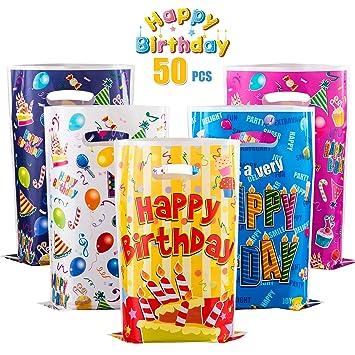 GWHOLE 50 x Bolsas para Cumpleaños Colores, Bolsas Plástico ...