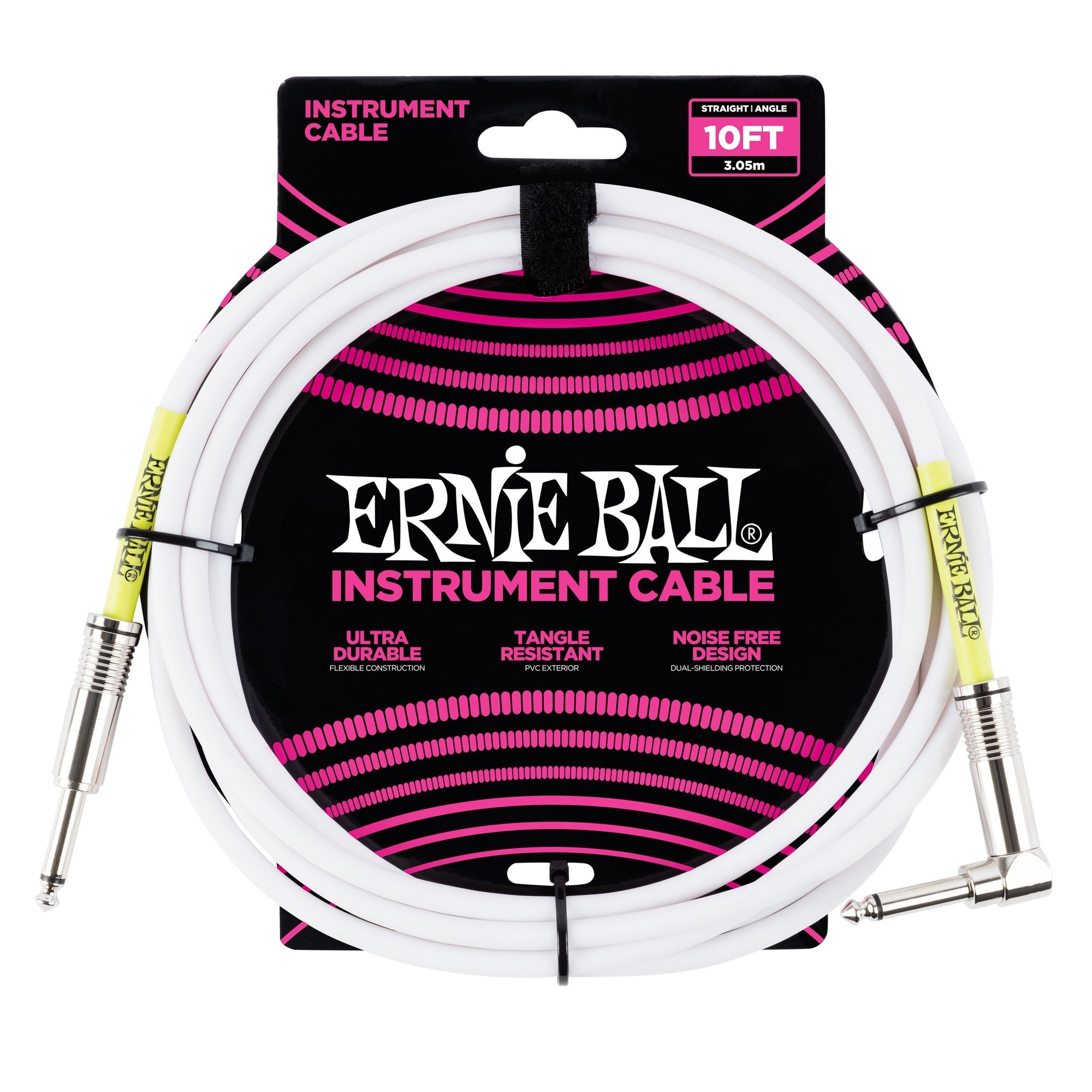 Ernie Ball 10' Straight / Angle Instrument Cable - White