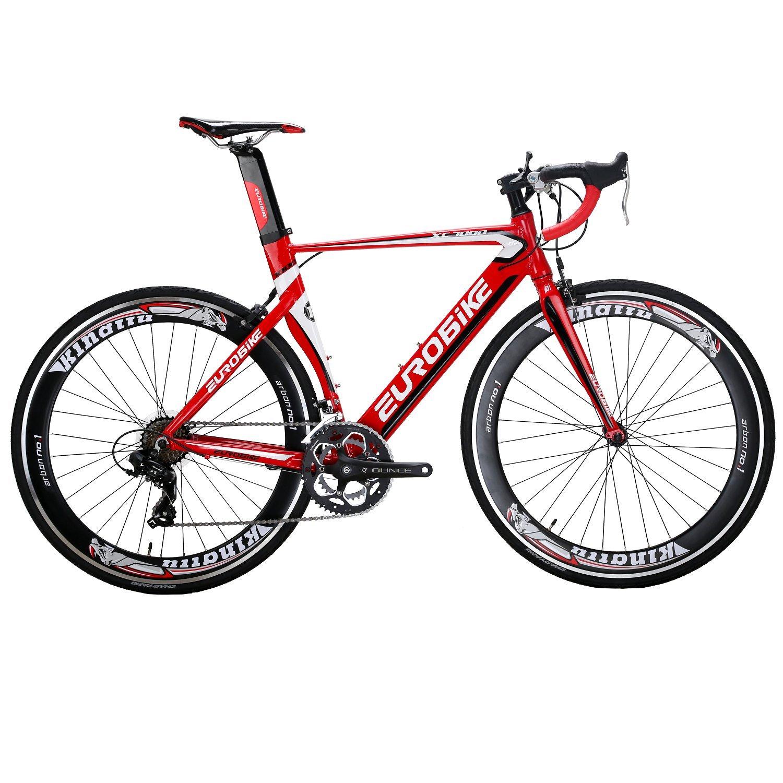 EUROBIKE XC7000 ロードバイク 2018モデル 700C アルミ合金自転車14S変速 钳形ブレーキ通勤通学 ロード アルミ バイク B078WKFMZK赤色