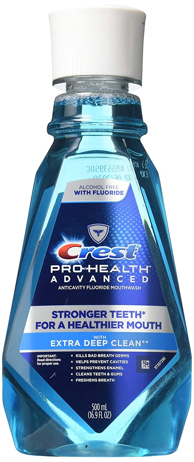 Crest Pro-Health Advanced Mouthwash with Extra Deep Clean, Fresh Mint,16.9 Fluid Ounce (2-Pack)
