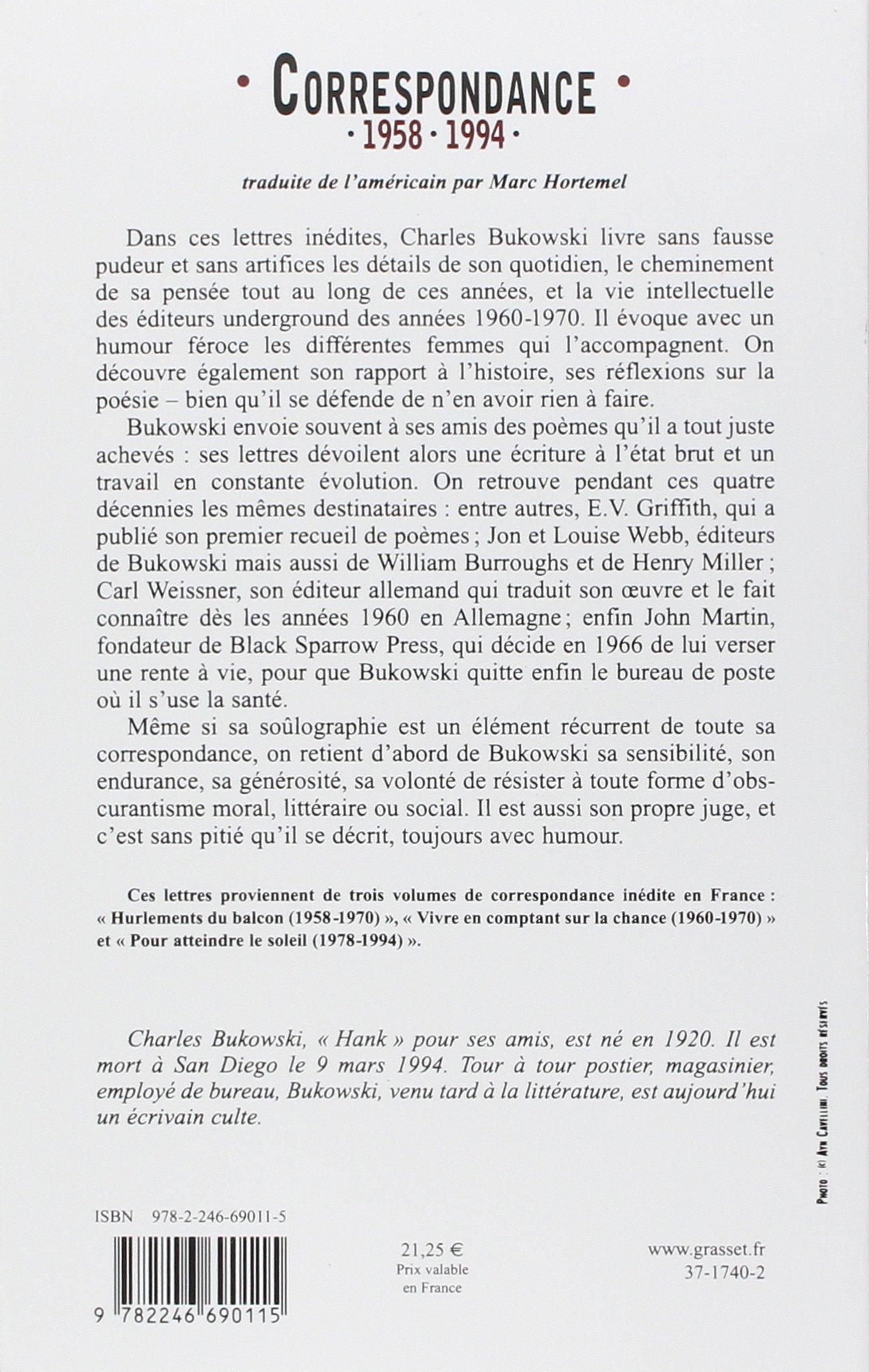 Correspondance 1958 1994 Amazones Charles Bukowski Marc