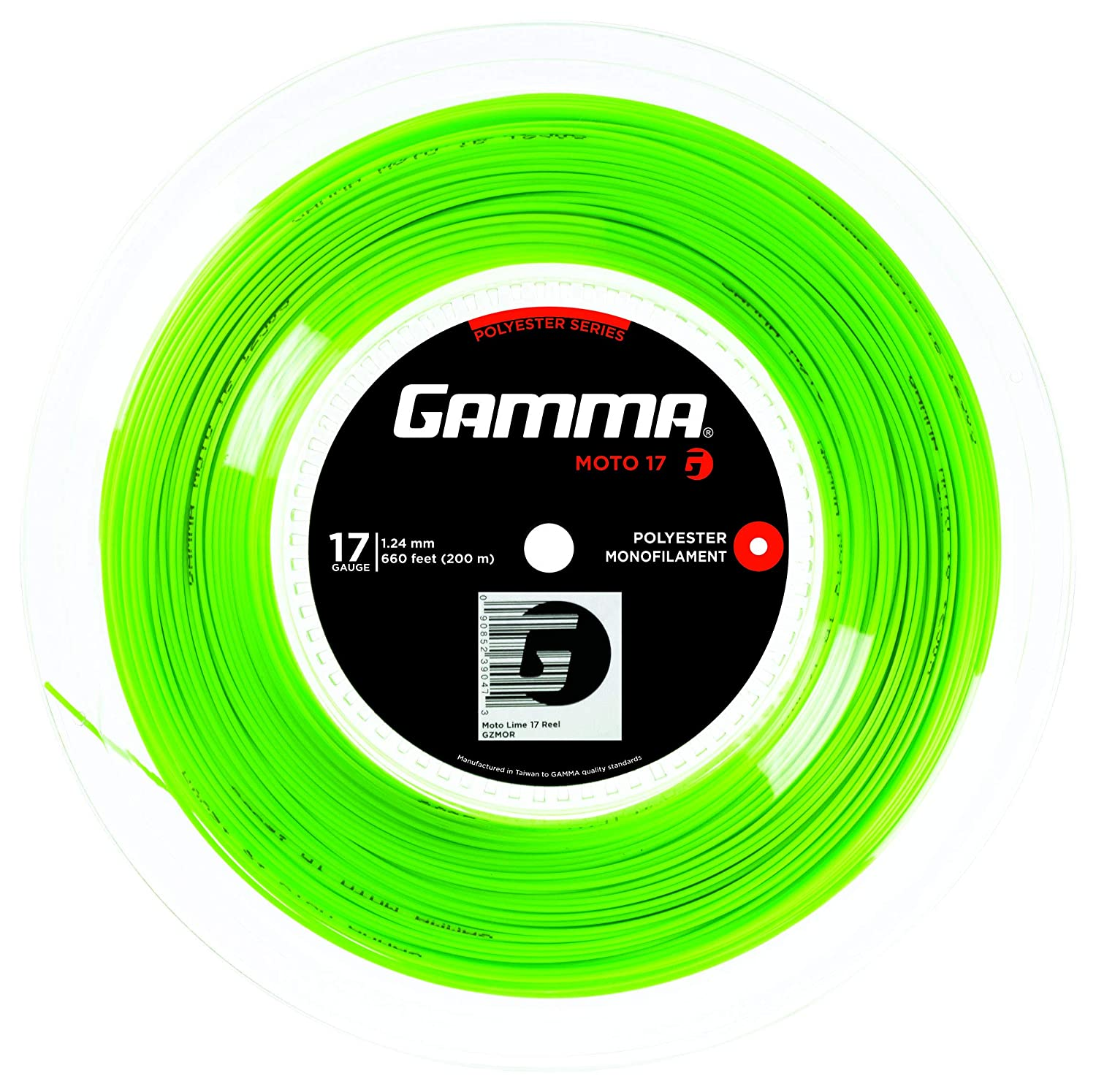 Black, Lime Spin and Control Gamma Sports AMP MOTO Tennis Racket String Polyester Series- Heptagonal Shape Delivers Maximum Ball Bite 16 or 17 Gauge Power