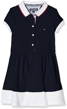 5a3af6d5 Tommy Hilfiger Girl's AME Colorblock Polo Dress S/S Blue (Navy Blazer 431)