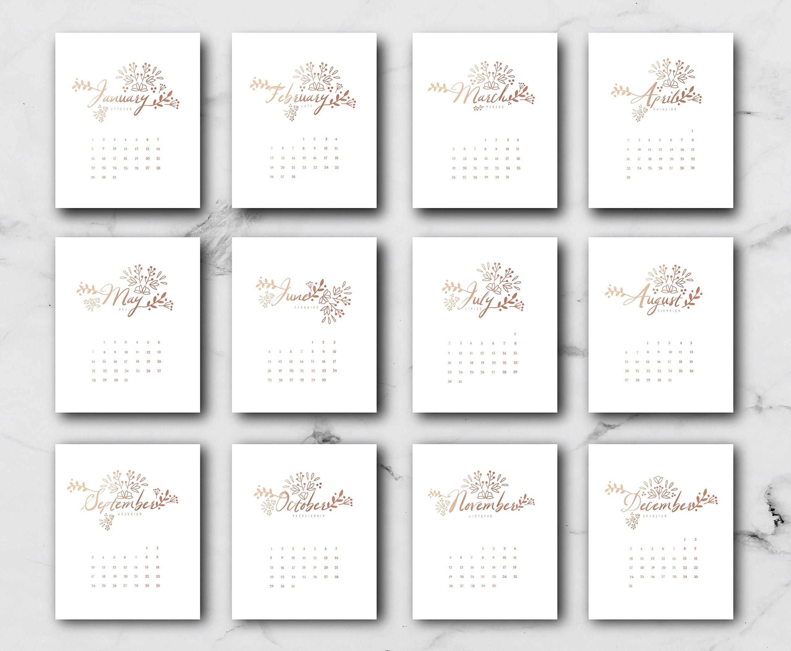 2018 Desktop Floral Calendar, Flowers Calendar, Card Stock Paper, Handmade Paper, Minimal Art, Christmas Gift, 2018 Calendar, Real Gold Foil