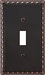 Amerelle Egg & Dart Single Toggle Cast Metal Wallplate in Aged Bronze