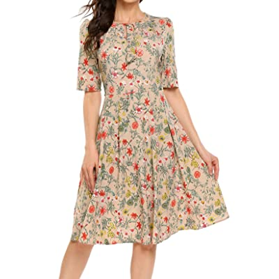 bd260f6161 ACEVOG Women s Casual Dresses Long Sleeve Floral Printed Fit and Flare  Party Dress