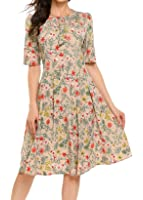 ACEVOG Women's Casual Dresses Long Sleeve Floral Printed Fit And Flare Party Dress