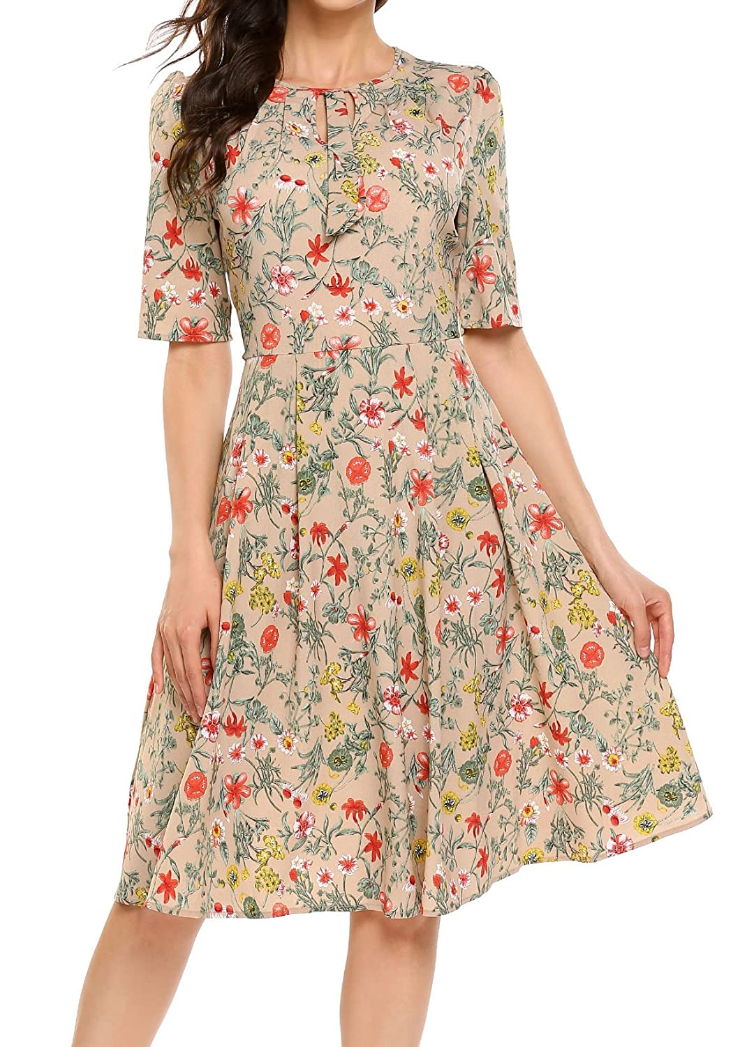 1940s Fashion Advice for Short Women Casual Short Sleeve Floral Printed Fit and Flare Party Dress ACEVOG Womens $30.79 AT vintagedancer.com
