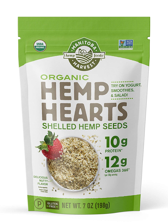 Manitoba Harvest Organic Hemp Hearts Shelled Hemp Seeds, 7oz; 10g Plant-Based Protein & 12g Omegas per Serving, Whole 30 Approved, Vegan, Keto, Paleo, Non-GMO, Gluten Free