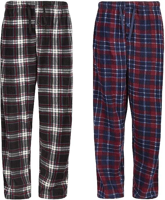 INSIGNIA 2 Pack Mens Fleece Check Pyjamas Lounge Pants Bottoms