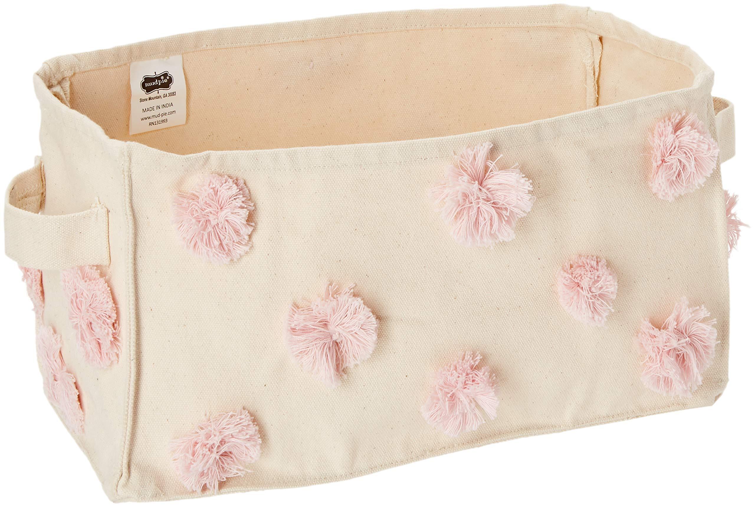 Mud Pie Nursery Decor Rectangular Pom-Pom Canvas Storage Bin, Pink