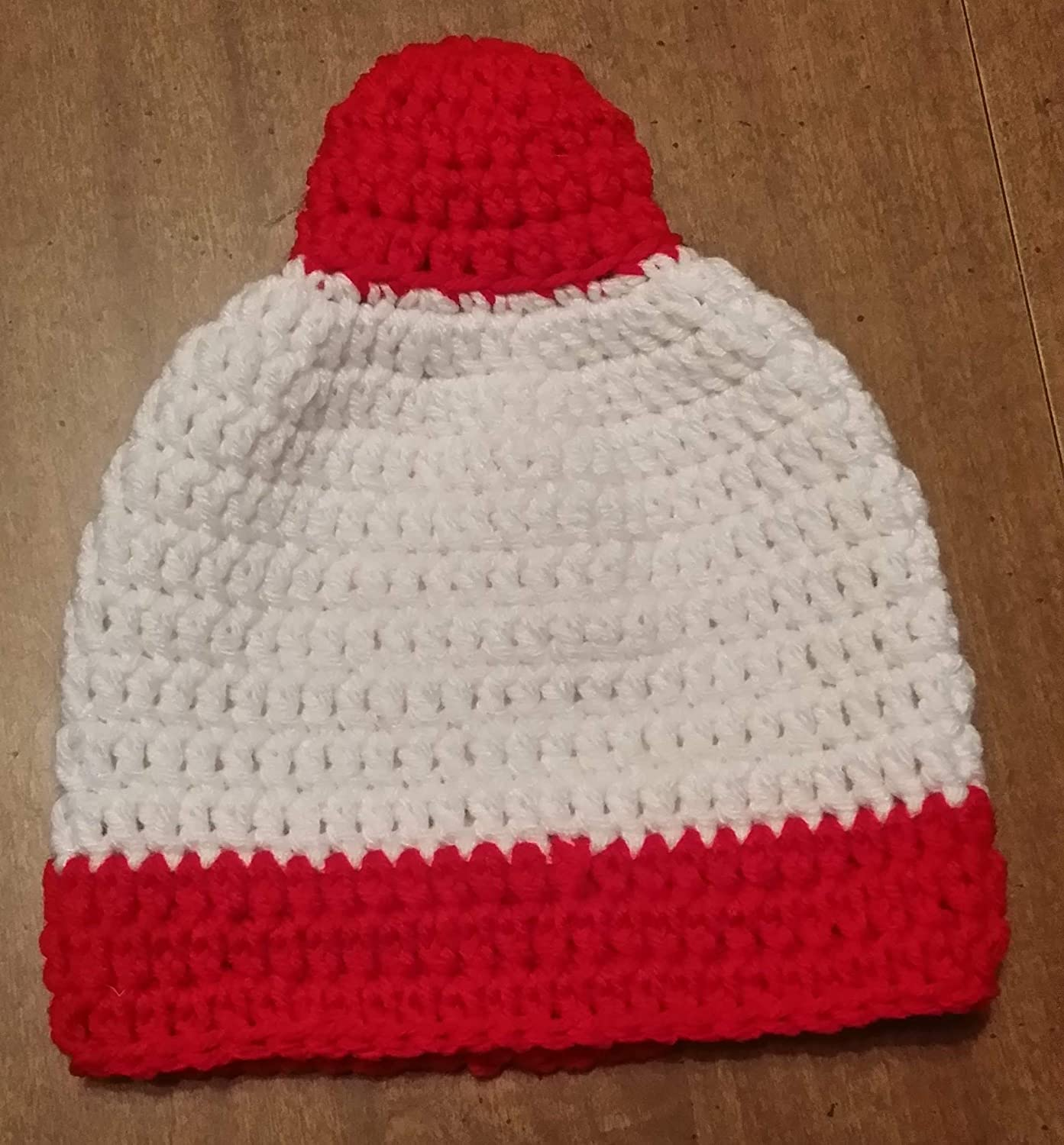 Hand Crocheted Toddler Fishing Bobber Beanie Hat red and white