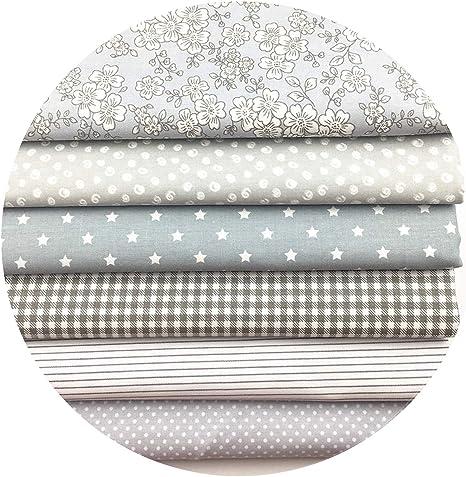Tela de algodón gris con estampado floral para hacer manualidades ...