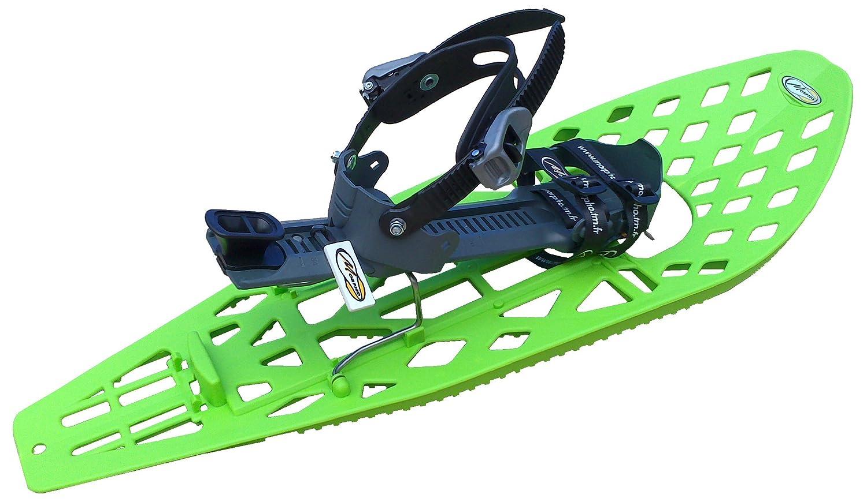 Morpho 13MHRAQTDLAECOGB - Racchette da neve da uomo Supertrimalp Light con cinturino caviglia a doppia fibbia stile snowboard, senza imbottitura, misura grande, colore: verde/grigio