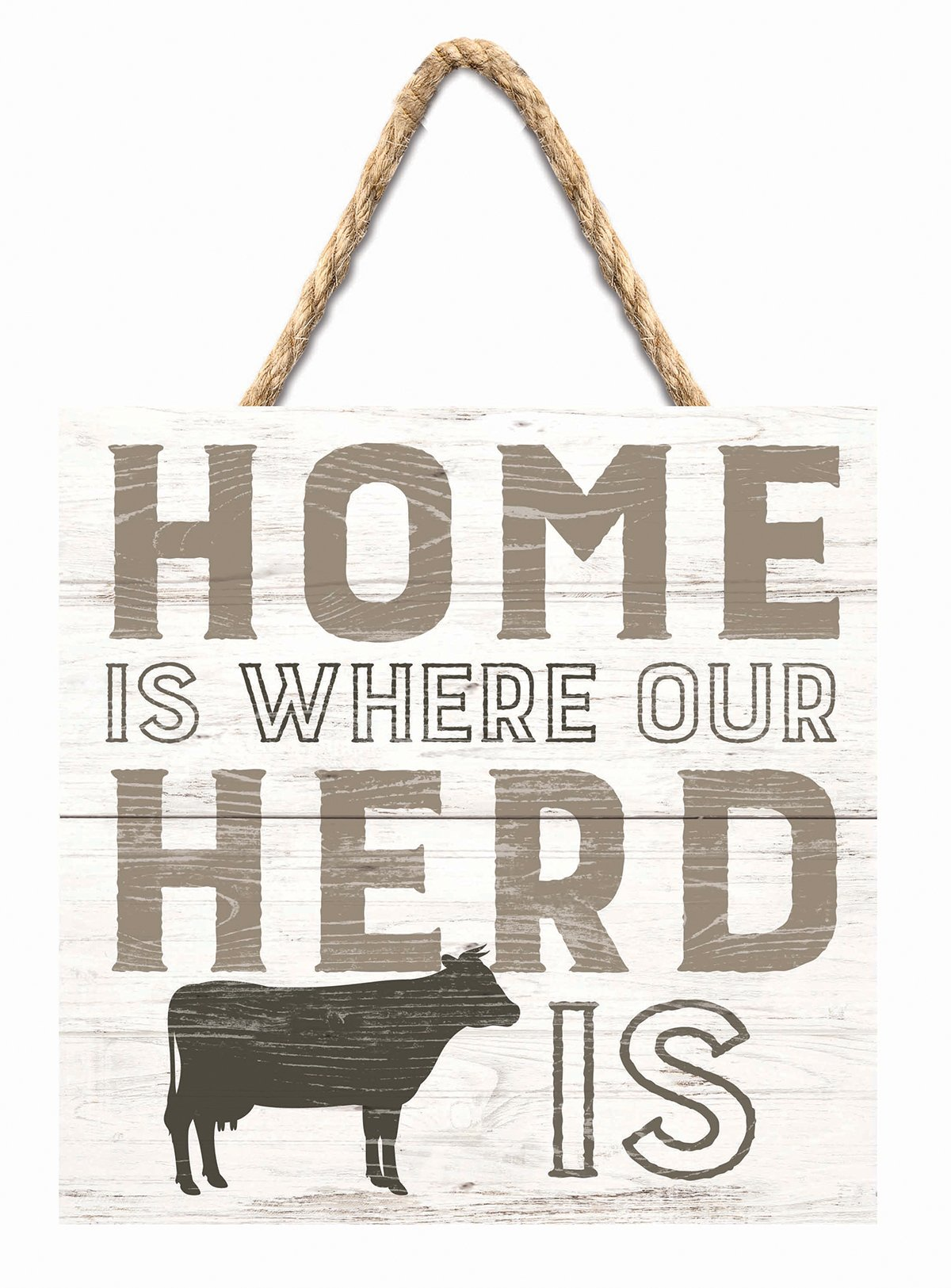 Darice P Graham Dunn Home Where Herd Is Cattle Whitewash 7 x 7 Inch Wood Pallet Wall Hanging Sign
