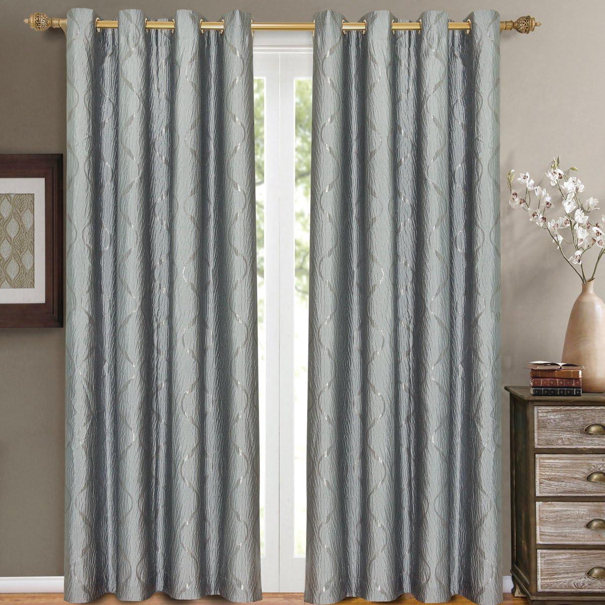 eLuxurySupply Laguna Jacquard Grommet Top Curtain Panel Window Treatment – Set of Two 2 – Multiple Sizes Colors Available
