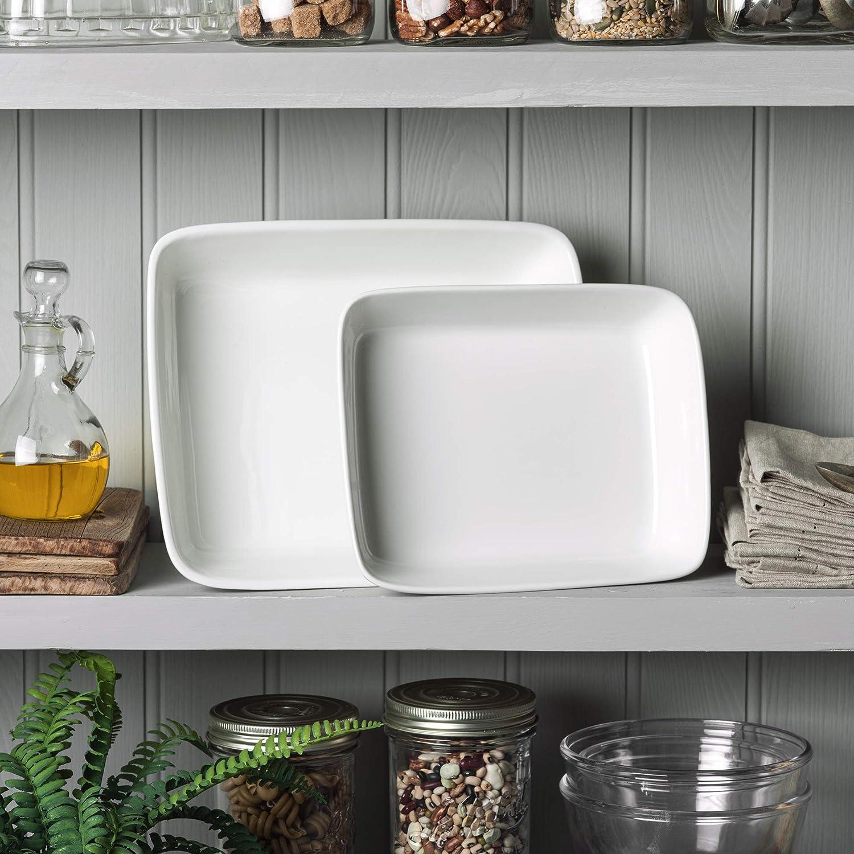 WM Bartleet /& ‿Sons 1750 TSET180 Lot de 2 plats traditionnels en porcelaine Blanc 26 x 20 cm 31 x 24 cm