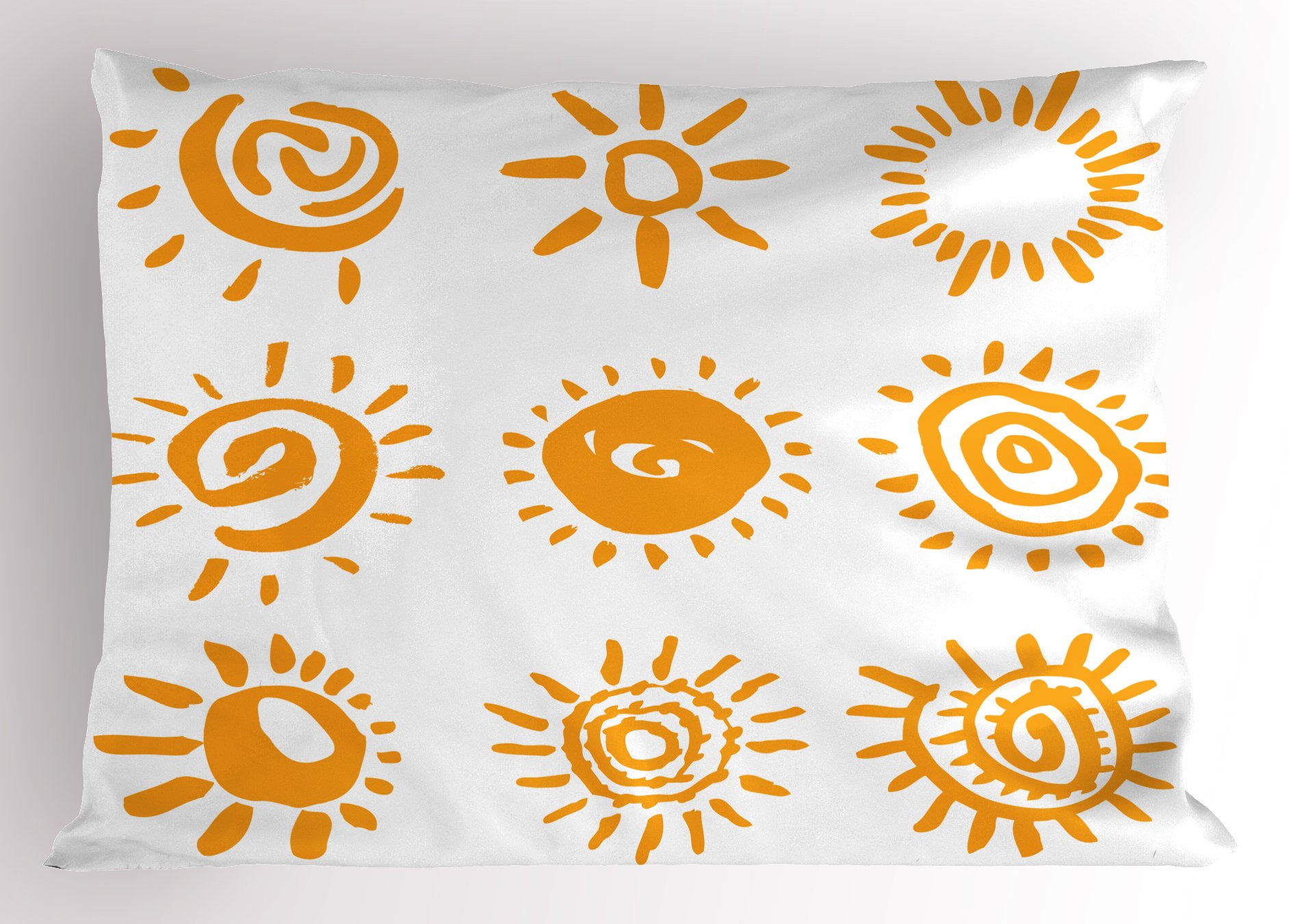 Lunarable Doodle Pillow Sham, Cartoon Sun Designs Swirls Lines Abstract Illustration Center of Solar System, Decorative Standard Queen Size Printed Pillowcase, 30 X 20 inches, Marigold White