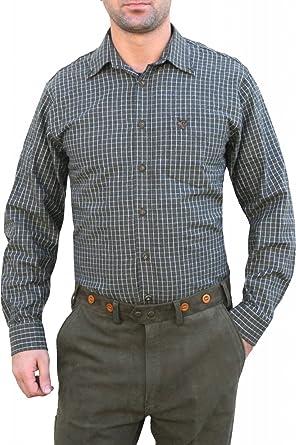 Caza Camisa para caza Camisa Cuadros Color Verde Oscuro ...