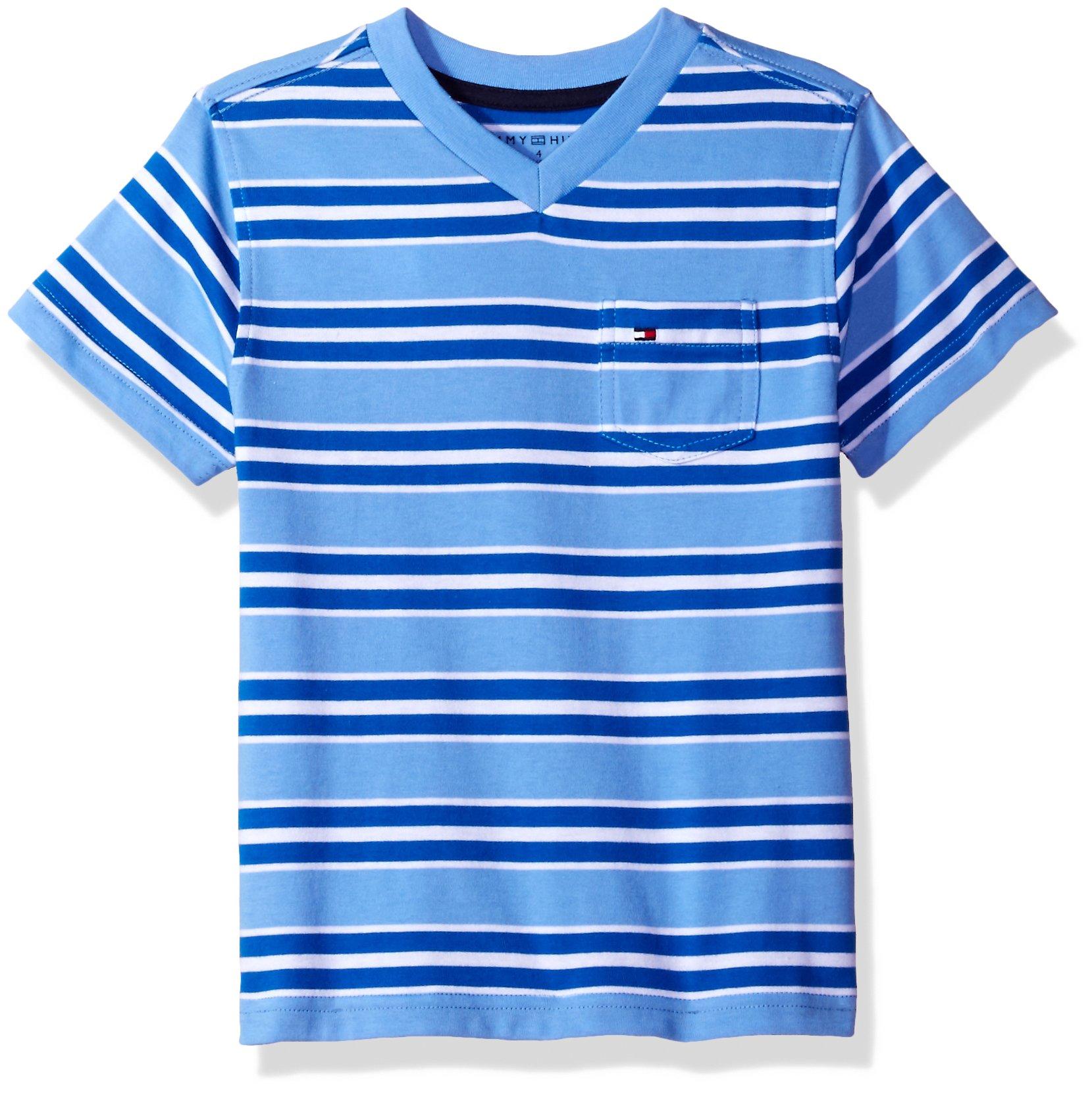 Tommy Hilfiger Big Boys' Bruce Stripe Vneck Tee with Pocket, Summer Blue, Large (16/18)