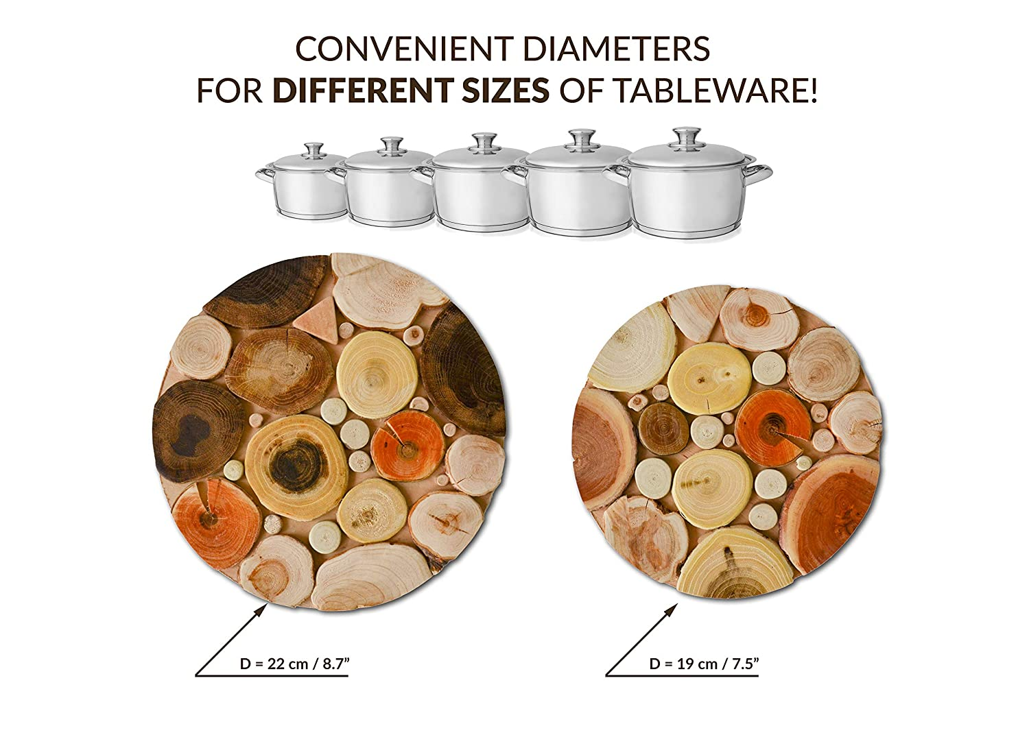 "Set of 2 Natural Wood Juniper Oak Walnut Cherry Coasters 8.7/""//7.5 Trivets For Hot Dishes Kitchen Hot Pads for Countertops Tableware Heat Resistant Trivet Pans Pots"