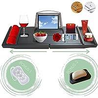 Bath Caddy Tray - New Model - Australian Business - Delux Expandable Bamboo Bathtub Caddy Organiser Table - Wine Drink…