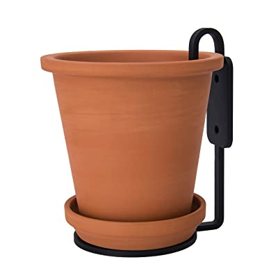 Industrial Design Terracotta Pot with Saucer, 6 Inch Wall Planter Pot with Design Metal Wall Bracket, Pack of 1: Garden & Outdoor