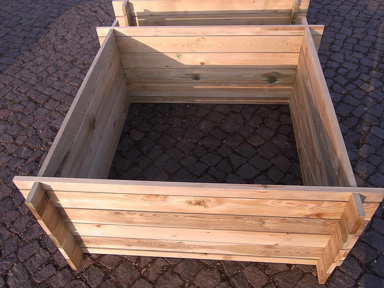 stabiler Holzkomposter Komposter Kompostbehälter Hochbeet 120 x 120 x 53 cm 19 mm Bambus-Internethandel Leipzig