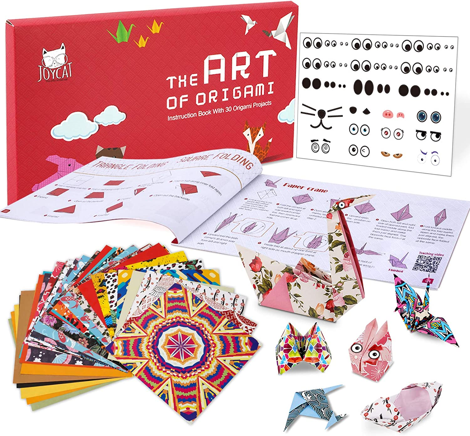 JoyCat Origami Paper Kit, 90 Sheets Double Sided Origami Paper, Kaleidoscope, Japanese and Animal Patterns, 30 Origami Projects Craft Guiding Booklet for Beginner Training and School Craft Lessons…