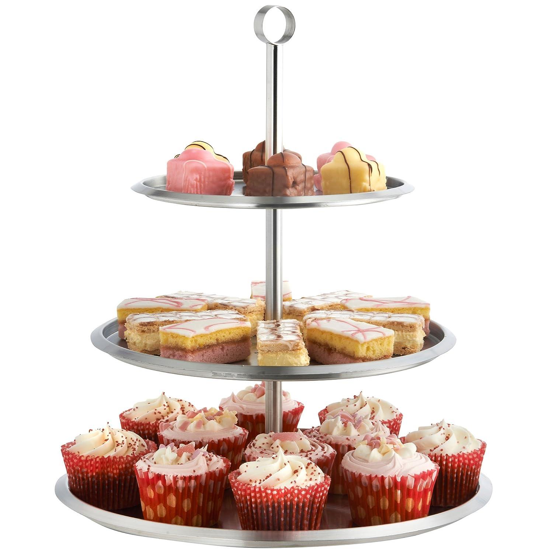 Vonshef - Vonshef soporte para mostrar pasteles/ pastelillos/muffins de acero inoxidable de 3 niveles para fiestas o bodas: Amazon.es: Hogar
