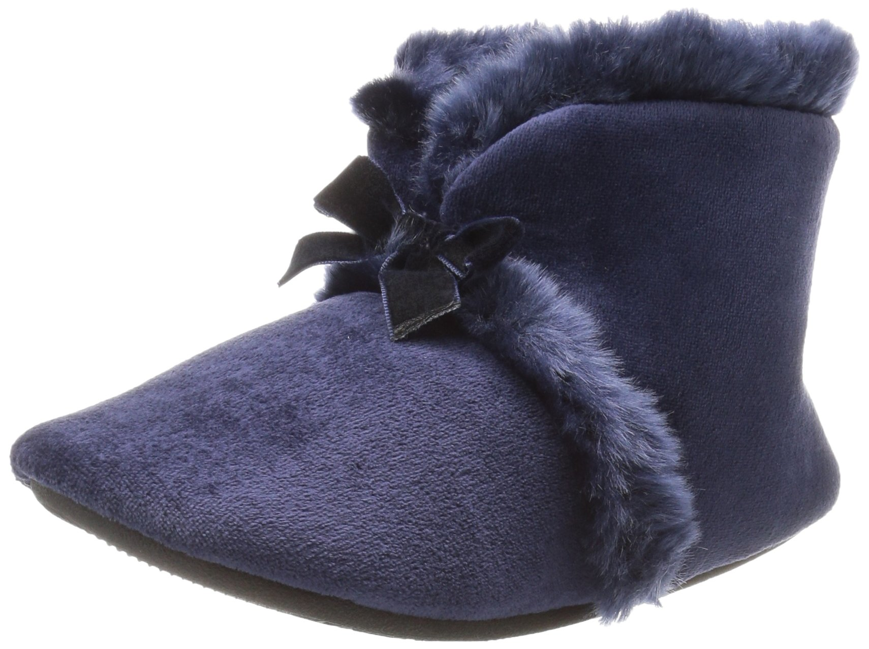 ISOTONER Women's Velour Diane Bootie Slippers, Navy Blue, Large/8-9 M US