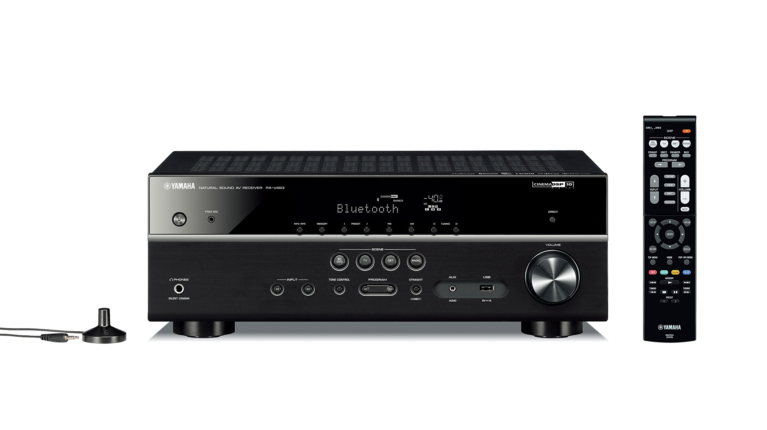 Yamaha RX-V483BL 5.1-Channel 4K Ultra HD MusicCast AV Receiver, Works with Alexa by Yamaha Audio