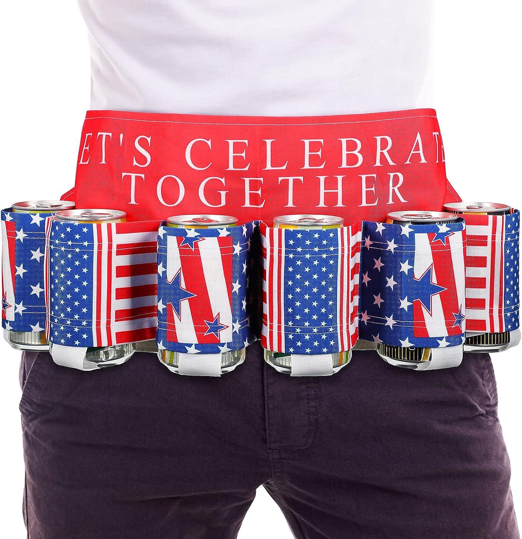 Newcotte Beer Belt, USA Americana Themed Beverage Holder Beer Belt, Adjustable Waist Strap with Buckle Holds 6 Pack Beers Drinks