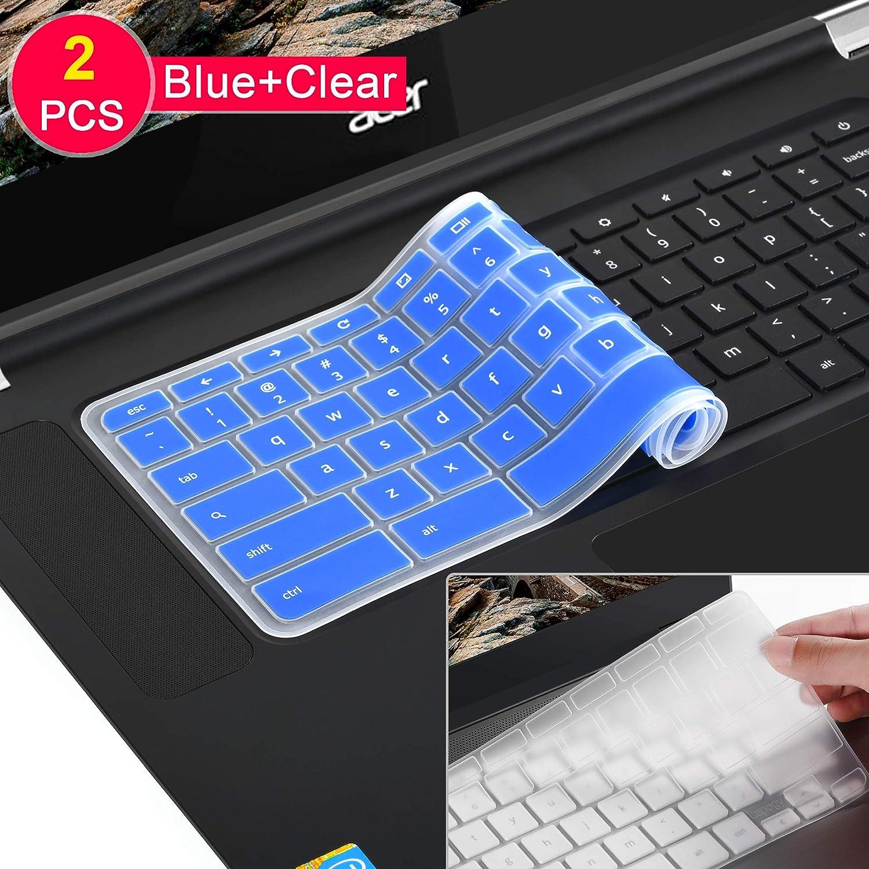 [2Pcs] Keyboard Cover for Lenovo Flex 11 Chromebook C330,Lenovo Chromebook N20 N21 N22 N23 100e 300e 500e 11.6 inch Chromebook, Chromebook N42 N42-20 14 inch,Lenovo Flex 3 2-in-1 (Blue+Clear)