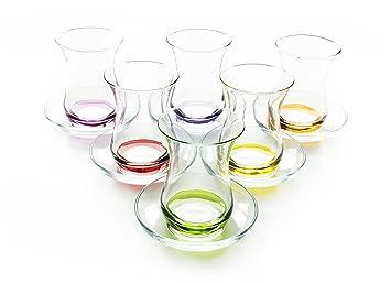 OFERTA ESPECIAL: Türkisches Juego de vasos de té Aida de Pasabahce con fondo de color decoración, 6 vasos 160 cc con 6 Bajo plato: Amazon.es: Hogar