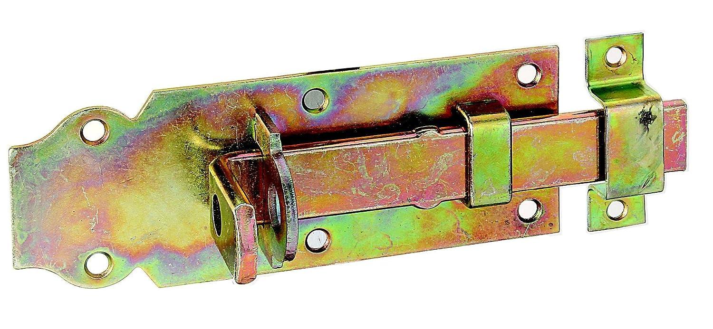 GAH-Alberts Verrou de box ou targette droit, pêne plat avec gâche fixe 100 x 44 mm Surface galvanisée à chaud (Jaune) pêne plat avec gâche fixe 100 x 44 mm Surface galvanisée à chaud (Jaune) 116750
