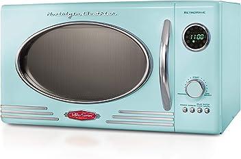 Nostalgia RMO4AQ Retro 800-Watt Countertop Microwave Oven, 0.9 cu. ft, Aqua