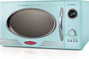 Nostalgia RMO4AQ Retro Large 0.9 cu ft, 800-Watt Countertop Microwave Oven, 12 Pre-Programmed Cookin Digital Clock, Easy Clean Interior, Aqua