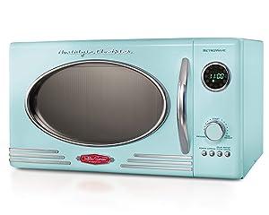 Nostalgia RMO4AQ Retro 800-Watt Countertop Microwave Oven, 0.9 cu. ft. Aqua