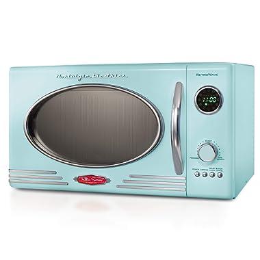 Nostalgia RMO4AQ Retro Large 0.9 cu ft, 800-Watt Countertop Microwave Oven, 12 Pre-Programmed Cookin Digital Clock, Easy Clean Interior, Aqua,