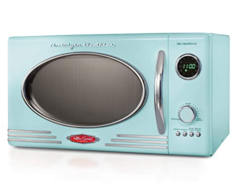 Nostalgia RMO4AQ Retro Large 0.9 cu ft, 800-Watt Countertop Microwave Oven, 12 Pre-Programmed Cookin Digital Clock, Easy Clean Interior, Aqua