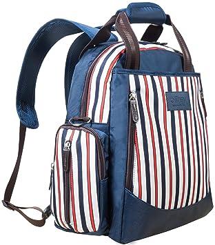 ... diseñada para las mamás, bolso cambiador grande con colchoneta cambiadora y bolsillo con aislante, diseño de rayas, azul marino: Amazon.es: Bebé