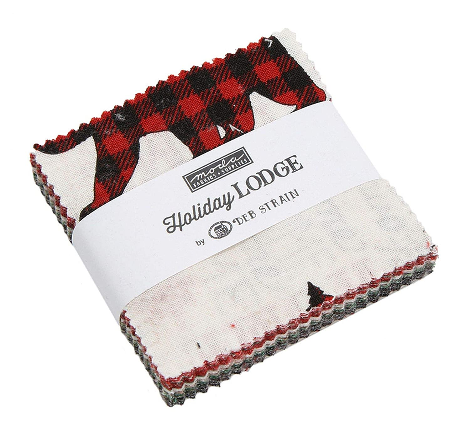 Holiday Lodge Mini Charm Pack by Deb Strain ; 42-2.5 Inch Precut Fabric Quilt Squares