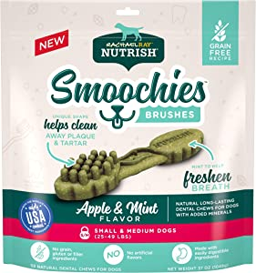 Rachael Ray Nutrish Smoochies Brushes Natural Long Lasting Dog Dental Chews, Apple & Mint, Small/Medium Size, 59 Treats, Grain Free